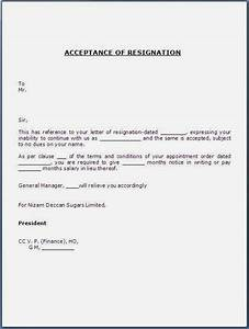 Resignation Letter Accepting Resignation Letter From Employee Formats Responding To A Letter Of