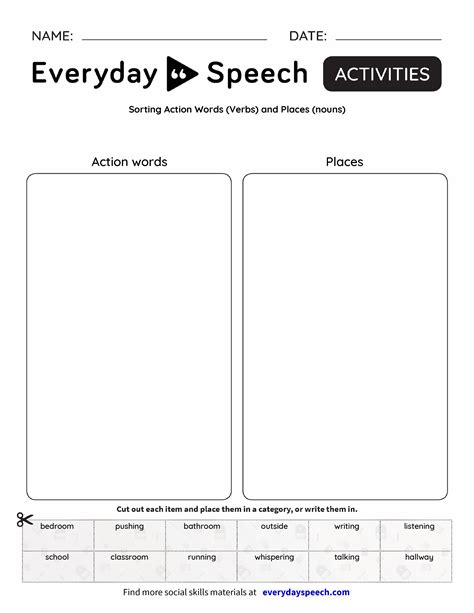Sorting Action Words (verbs) And Places (nouns)  Everyday Speech  Everyday Speech
