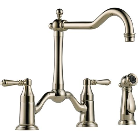two handle kitchen faucets buy brizo 62536lf two handle bridge kitchen faucet with spray at discount price at kolani