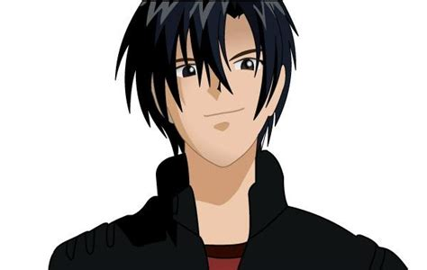 black haired anime character boy vector