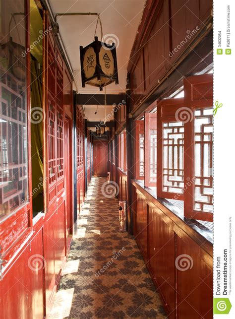 chinese ancient traditional architectural promenade stock