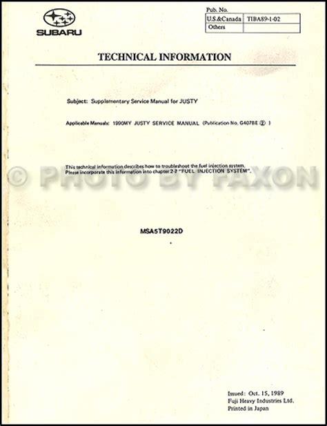 car maintenance manuals 1990 subaru justy electronic valve timing 1990 subaru justy repair shop manual original set