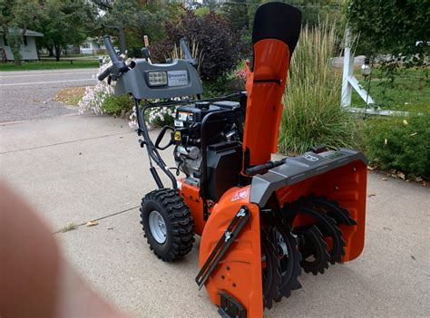husqvarna stp  stage snow blower  action hands