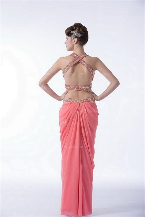 arrival fashion india style sexy pink backless high quality chiffon evening prom dress pd