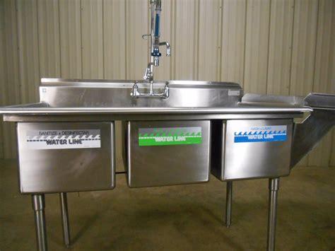 Used Nsf 3 Compartment Sink W Sprayer Dish Shelf