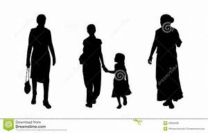 Indian People Walking Silhouettes Set 4 Stock Illustration ...