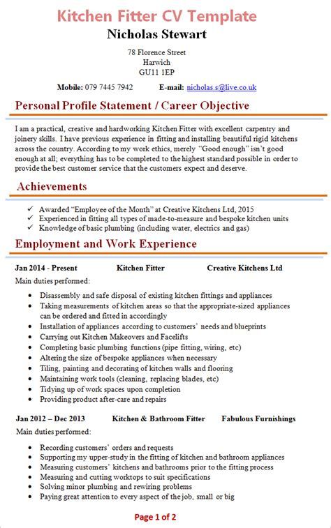 Kitchen Fitter Description kitchen fitter cv template 1