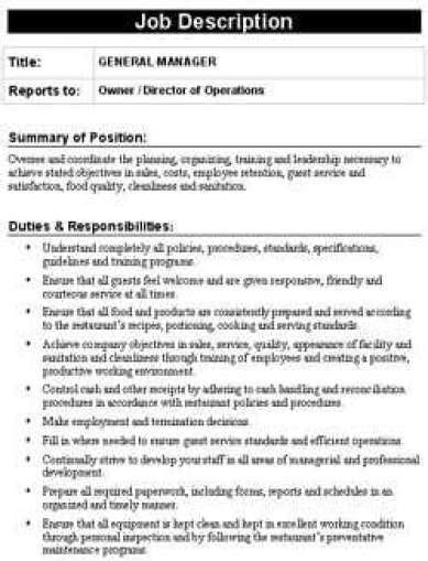 Kitchen Manager Work Description by 19 Free Description Templates In Word Excel Pdf