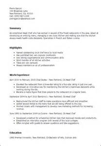 resume sle for chef professional chef templates to showcase your talent myperfectresume