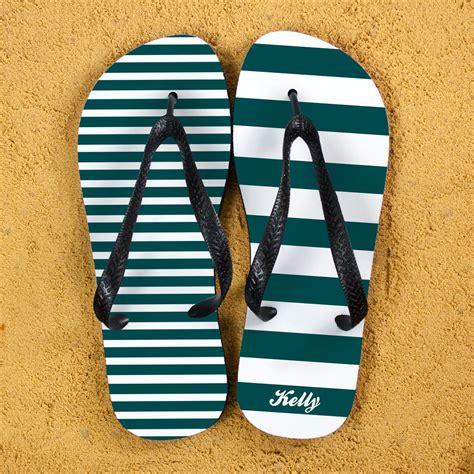 striped personalised flip flops  teal treat republic