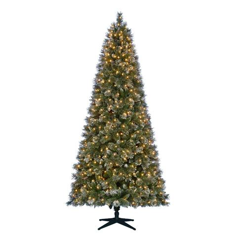 martha stewart living 9 ft pre lit led sparkling pine quick set artificial christmas tree with