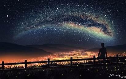 Sky Anime Night Stars Boy Landscape Sitting