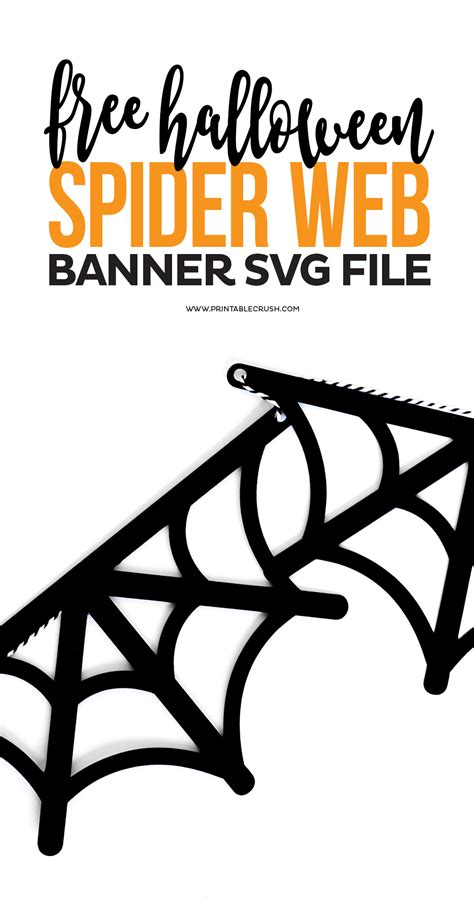 free spider web banner svg file printable crush