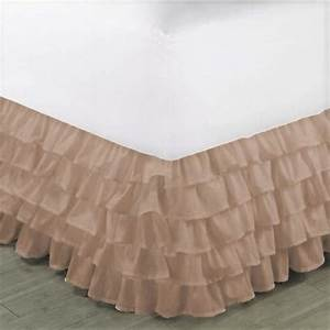 Gypsy, Queen, Taupe, Ruffled, Bed, Skirt, Wrap, Around, Layered, Solid, Bed, Dust, Ruffle, 20, U0026quot, Inch, Drop