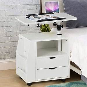 Erommy, Bedside, Table, Height, Adjustable, End, Table, Wooden, Nightstand, With, Swivel, Top, Storage