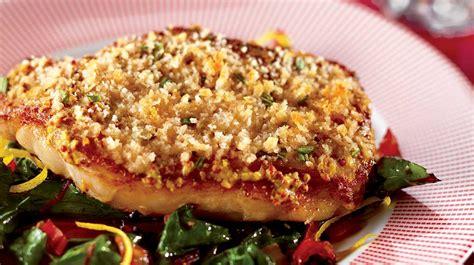romarin cuisine côtelettes de porc à la moutarde et au romarin avec bette
