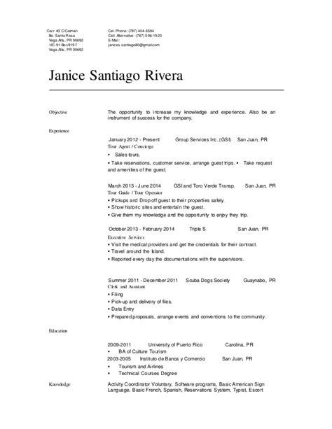 Templates De Resume En Espanol by Resume Espanol Janice Santiago Profesional Resume