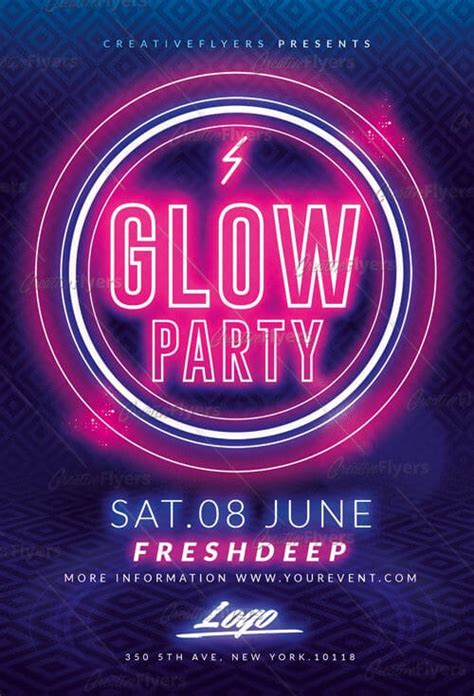 glow party flyer templates psd creative flyers