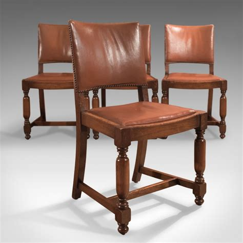 antique dining chair set of four antique dining chairs edwardian oak leather 1267