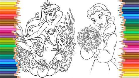 coloring pages disney princess belle  ariel  drawing