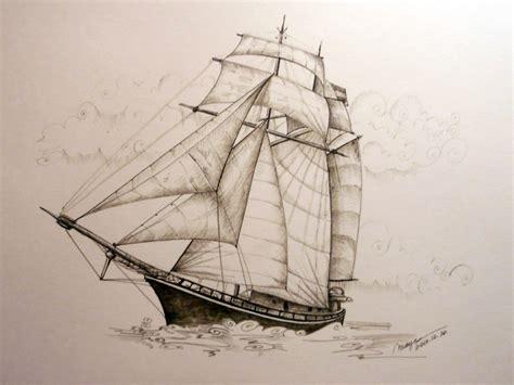 Pirate Ship Sketch 2 Rohrerklinger Sepia Ink With