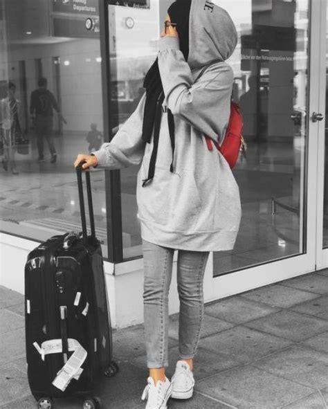 hijabi traveling style  trendy girls casual
