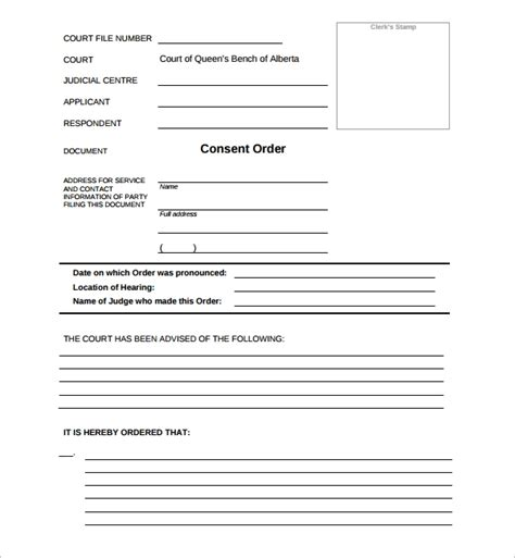 consent order forms   word