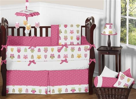 24143 owl baby bedding pink happy owl baby bedding 9 pc crib set by sweet jojo