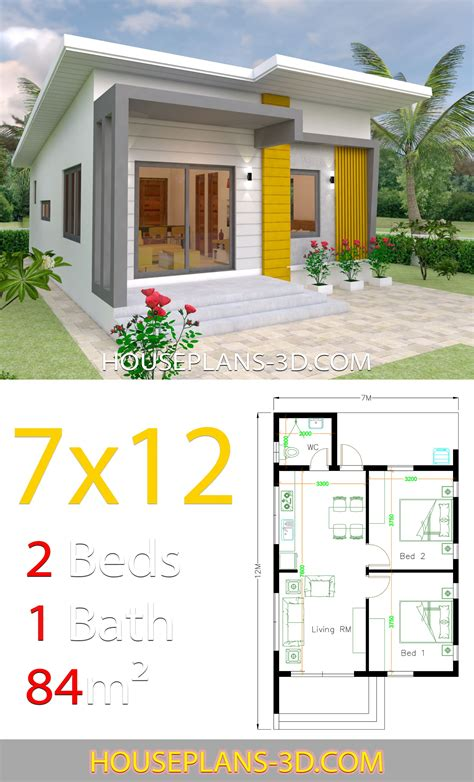 House Design Plans 7x12 with 2 Bedrooms Full Plans House