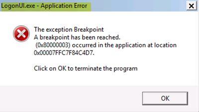 logonui exe application error on startup in windows 10
