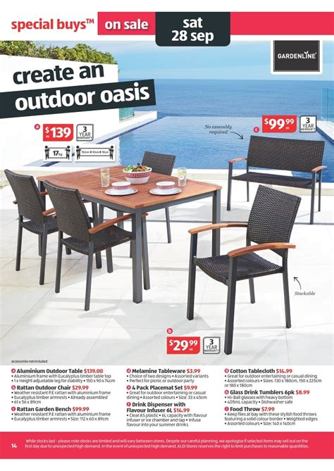 aldi outdoor furniture 2015 aldi catalogue special buys week 39 2013 page 14