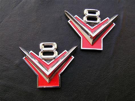 Ford V8 Y Block Pair Metal Car Emblems Badges *new!* Suit