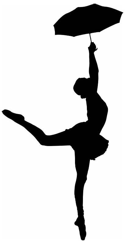 Umbrella Silhouette Ballerina Dancer Lady Exuberant Clipart