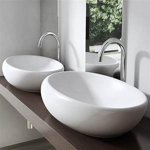 Waschbecken Oval Aufsatz : aufsatz waschbecken lavabo keramik oval 69x40cm ~ Orissabook.com Haus und Dekorationen