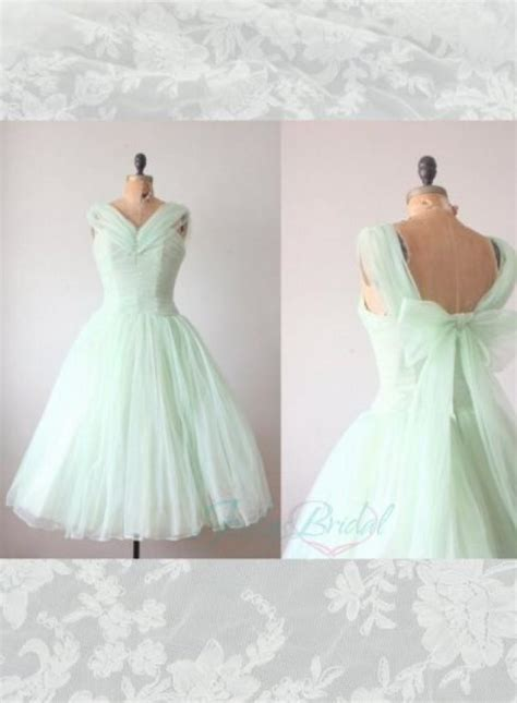 lj light green mint color tea length vintage party