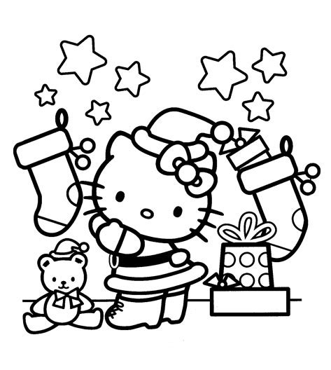 Hello Kitty Coloring Pages Christmas Wallpapers9
