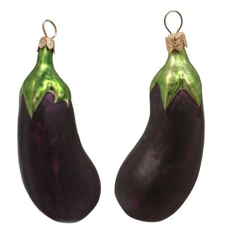 eggplant polish mouth blown glass christmas ornament set