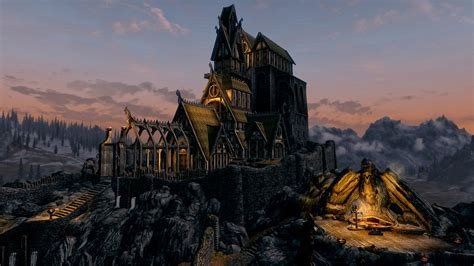 full hd wallpaper skyrim whiterun palace sunset desktop