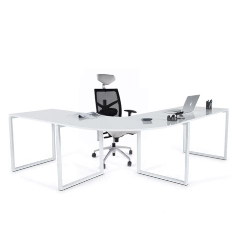 bureau angle droit bureau d 39 angle alaska en bois blanc laqué design bureau