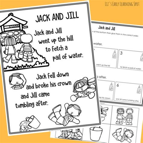 and sequencing activity liz s early learning spot 954   jack and jill nursery rhyme