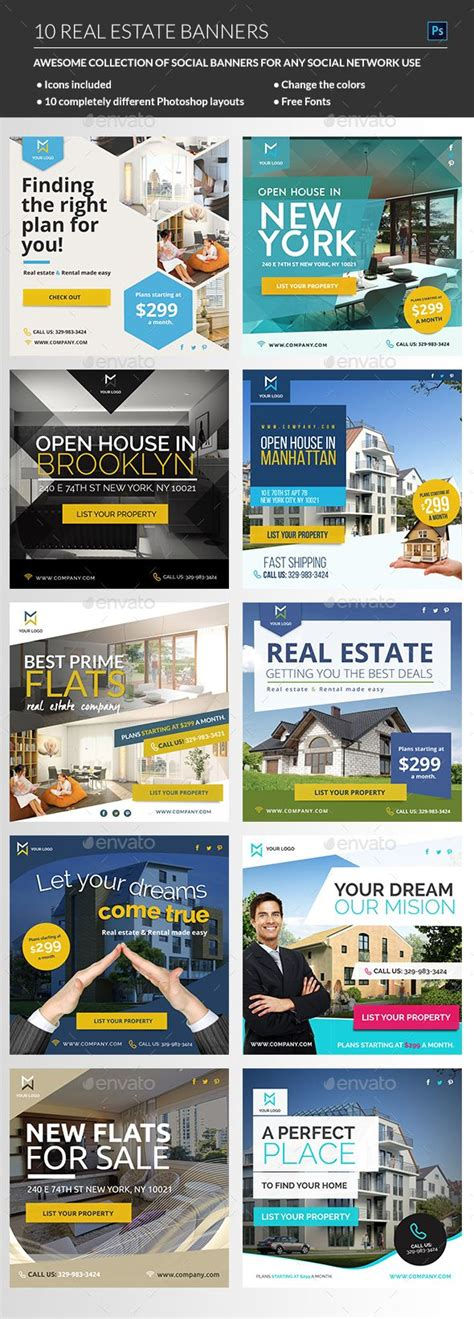Banners Redes Sociales Template by Real Estate Banners Social Media Web Elements