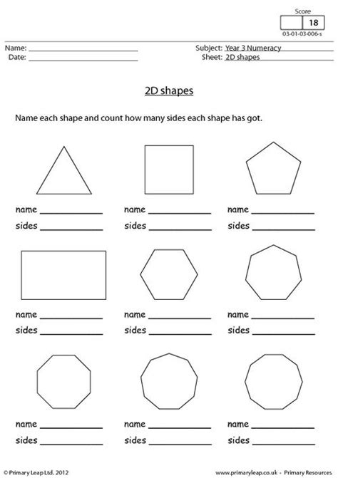 2d shapes worksheet worksheets for all and