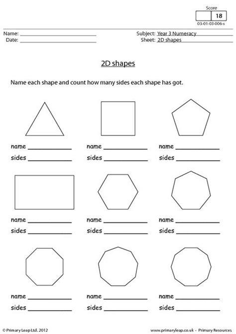 2d Shapes Worksheet Worksheets For All  Download And Share Worksheets  Free On Bonlacfoodscom