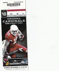 arizona cardinals  seattle seahawks ticket stub
