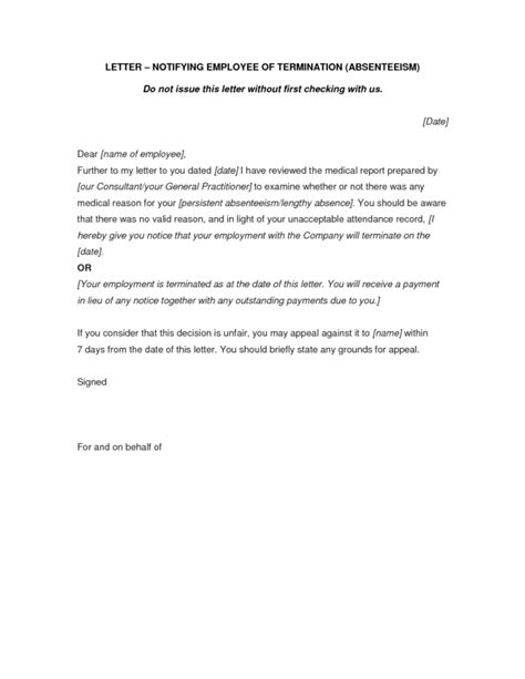Termination Letter Template Basic Notice Letter Sle For Employee Termination Vatansun