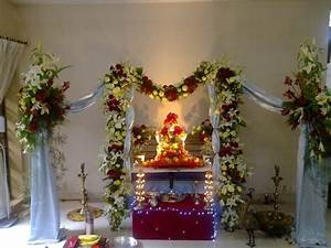 fresh & artificial flowers decoration Ganpati Decoration