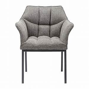 Chaise grise avec accoudoirs pour salle galerie et for Petite cuisine équipée avec chaise fauteuil de salle a manger