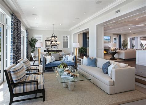 kitchen dining room living room open floor plan california house with coastal interiors