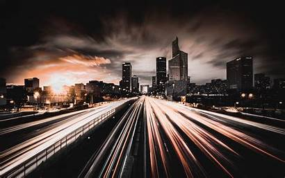 Road Night Traffic Buildings Background Widescreen