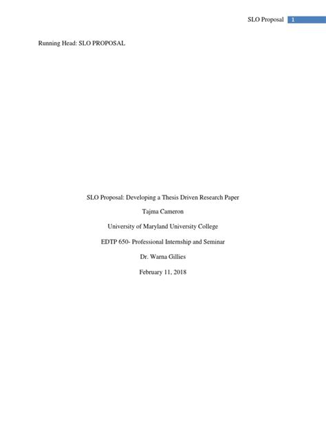 edtp 650 slo proposal | Thesis | Academic Publishing